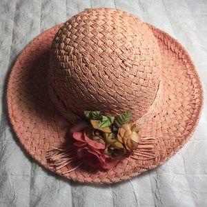 🎉HP🎉  Vintage straw hat peach new Sunday Church
